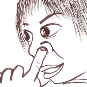 鼻くそほじる